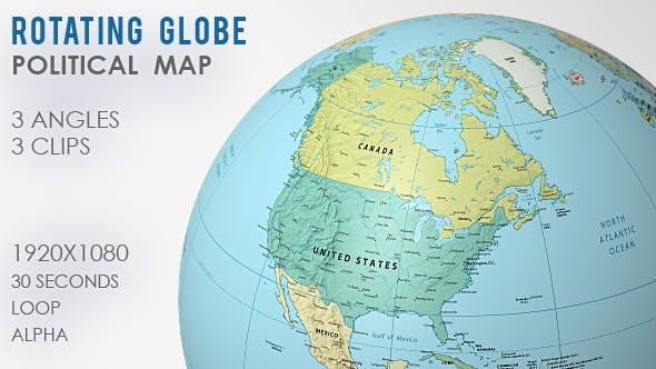 Atlas Globe Map.Rotating Globe World Map 3 Views By Vf Videohive