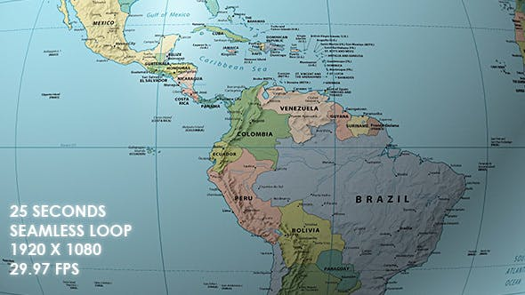 Rotating Globe World Political Map Equator Focus By Vf Videohive