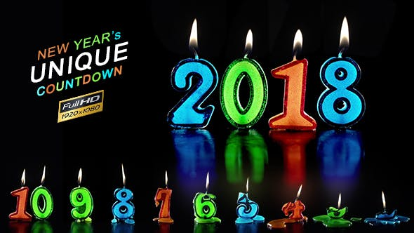 New Year Countdown Candles 2018 Stock Footage