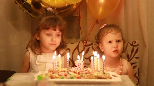 Little Cute Girls And On Birthday Cake At Party Funny Happy