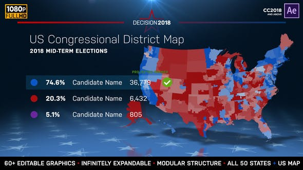 Us Red Blue Map 2018.2022 Midterm Election Map State Congressional Districts By