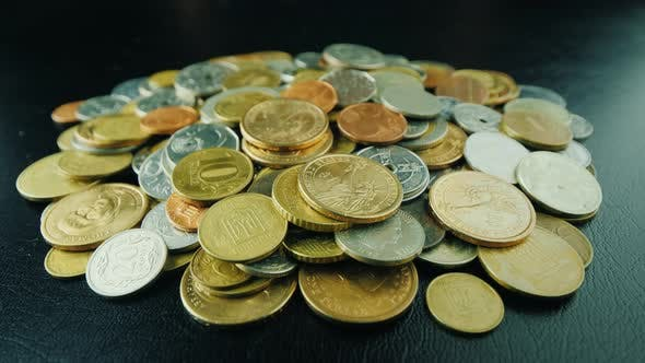 The Hands Of A Man Pick Up Bunch Coins From Table Good Money Or Winning Concept Stock Footage